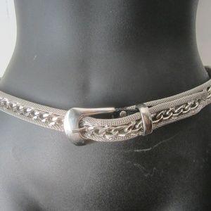 "Vintage Silver Mesh and Link Belt, Size S/M 28"""